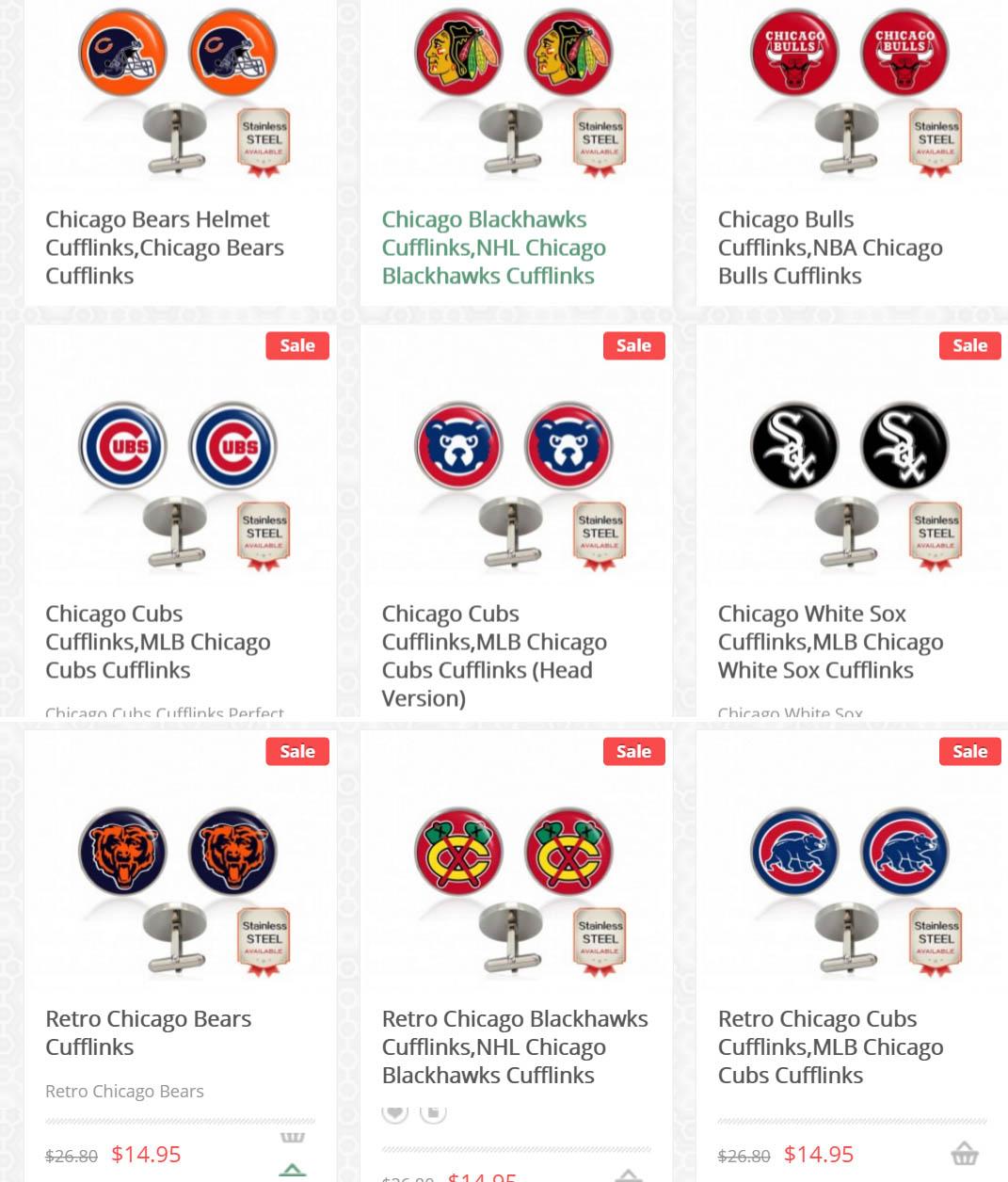 Handmade Cufflinks For Chicago Teams