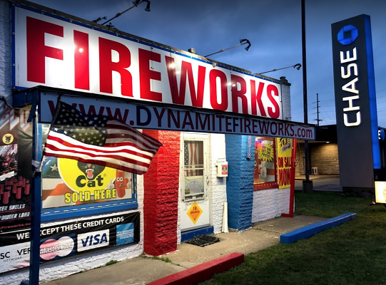 Dynamite Fireworks Again #1 Chicago Firework Store at Competitive Illinois-Indiana State Line